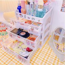 Kawaii Large Capacity Transparent Drawer Type Desktop Organizer Pen Holder School Cute Office Stationery Desk Storage Box