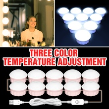 LED 12V 3 Colors 2 6 10 14 Bulbs Stepless Dimmable Makeup Mirror Light USB Dressing Table Makeup Lamp Bulb Hollywood Wall Lamp cheap CanLing CN(Origin) Switch LED Makeup Mirror Vanity Light Bulb 8W 12W 16W 20W USB Plug Nature White Cold White Warm