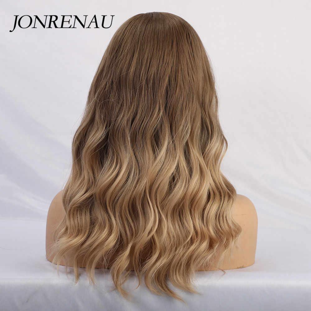 جونرينو الاصطناعية أومبير براون إلى الذهبي شقراء مزيج اللون الباروكات مع الانفجارات شعر طبيعي طويل الباروكات للنساء أبيض/أسود