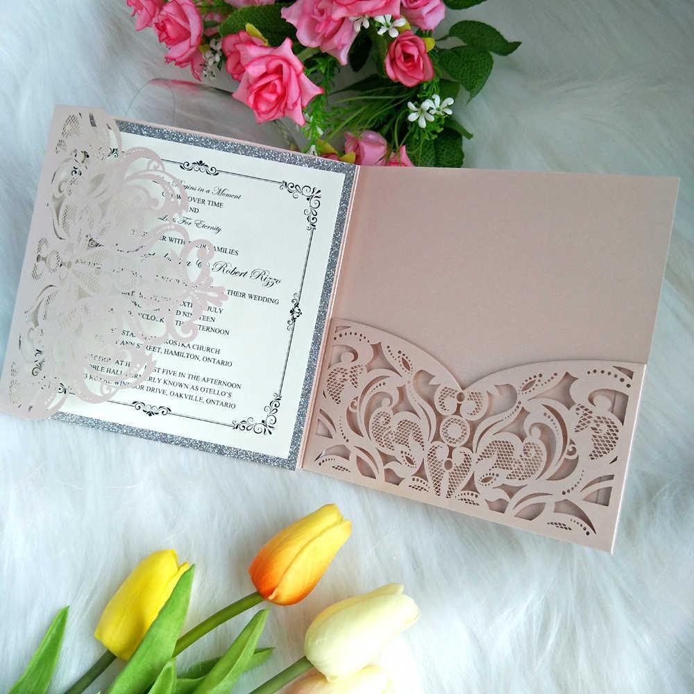 50pc Light Pink Shiny Laser Cut Pocket