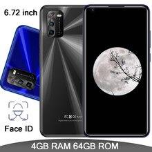 Android 9s quad core 4g ram + 64g rom frente/câmera traseira rosto id 8mp + 13mp smartphones globais 6.72