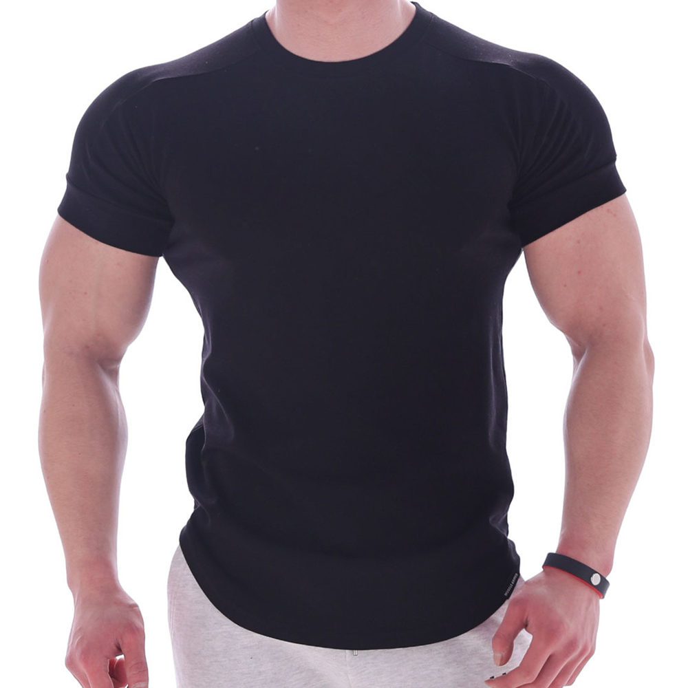 Black Gym T Shirt Men Fitness Sport Cotton T-Shirt Male Bodybuilding Workout Skinny Tee Shirt Summer Casual Solid Tops Clothing