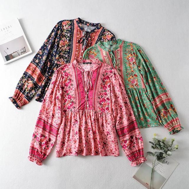 2020 BOHO Lacing up Collar Floral Print Pullover Shirt Women Elastic Waist Maxi Long Skirt Pink Holiday 2 Pieces Set 2