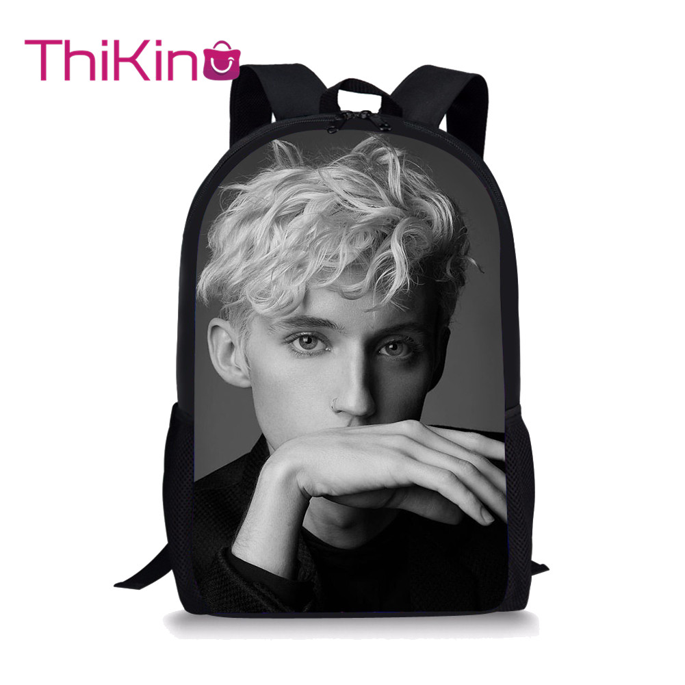 Thikin Troye Sivan Students School Bag for Girls Teenagers Backpack Travel Package Shopping Shoulder Women Mochila