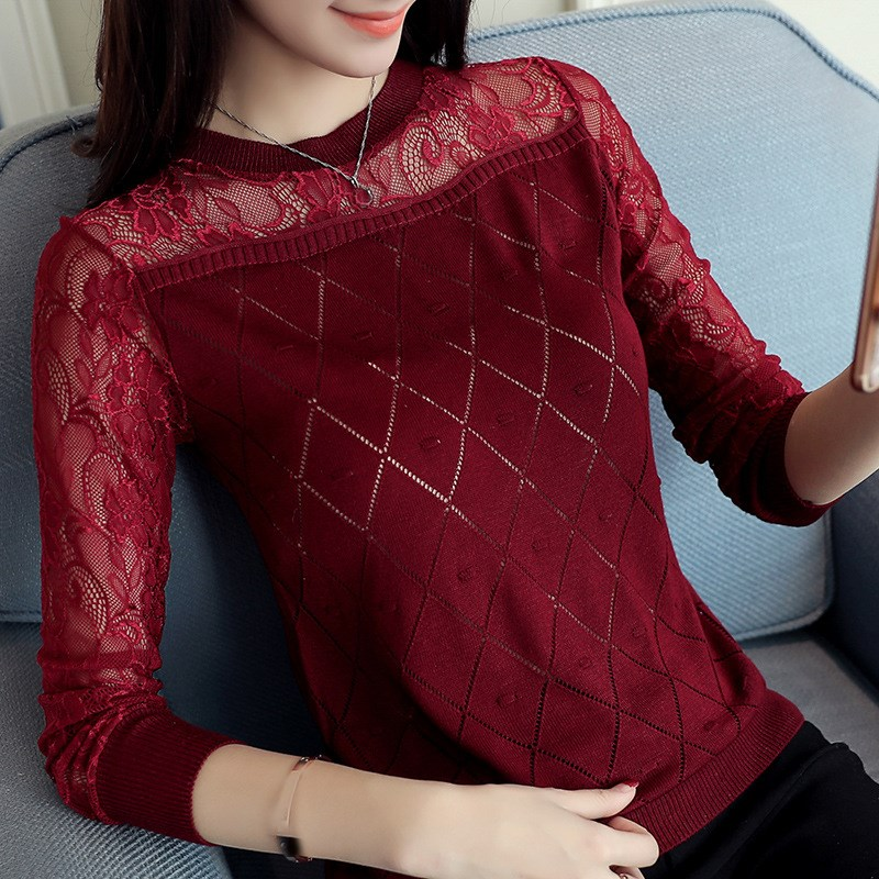 Fashion Women Turtleneck Lace Pullovers Loose Elastic Hollow Out Knitted Sweaters Long Sleeve O-Neck Casual Jumper