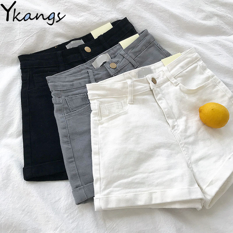 Women's High Waist Stretch All-match Jeans Summer Fashion Wild Denim Shorts Casual Slim Vintage Crimping Jeans Shorts Streetwear