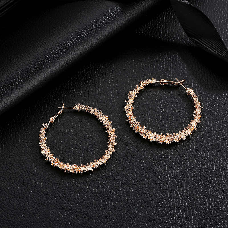 Europe and the United States hot new earrings simple irregular multi-thorn round earrings alloy personality wild earrings