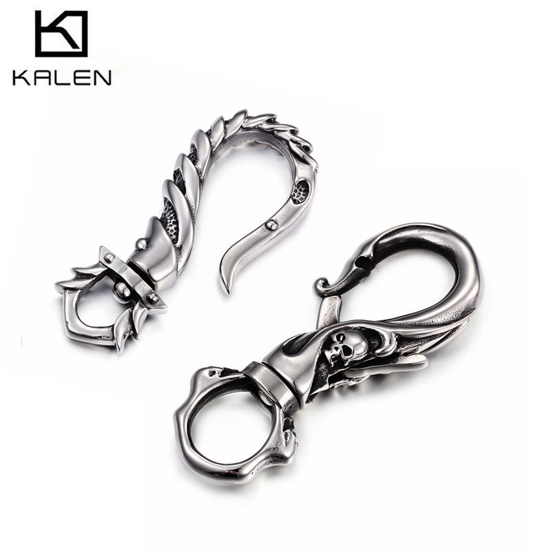 Kalen New Punk Key Chains 316 Stainless Steel Skull Key Chains Fashion Rock Accessories Jewelry Gifts For Men Boyfriend