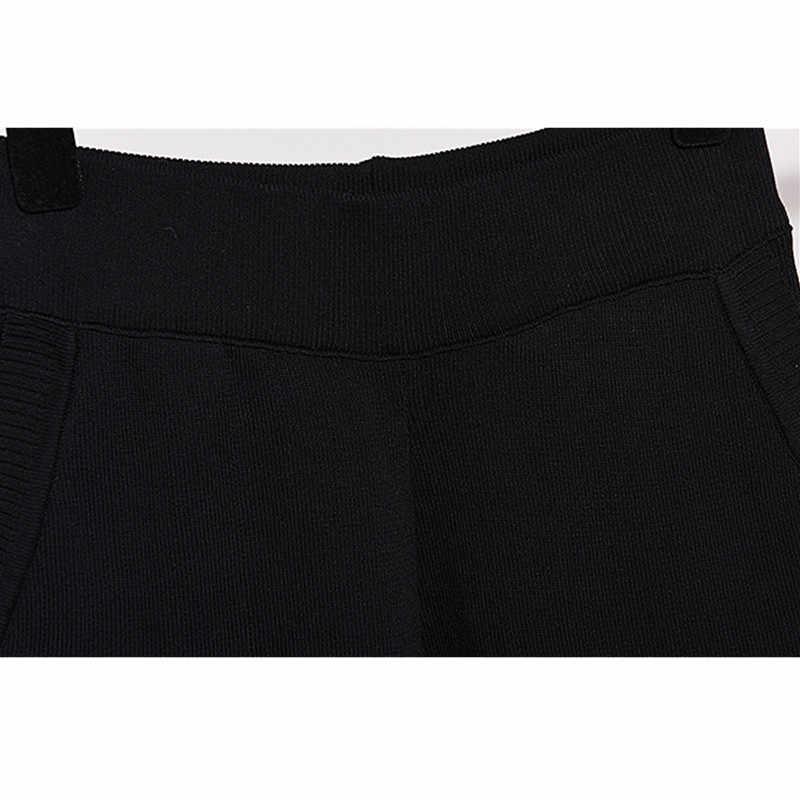 Conjunto de 2 piezas de alta calidad + Pantalones de punto traje chándal mujeres bordado rebordear tejer suéter pantalón parte de arriba 2 uds