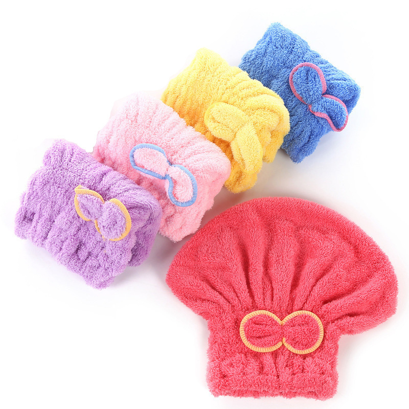 5 Color Colorful Bath Towel Cap With Microfiber Solid Fabric For Ladies 2