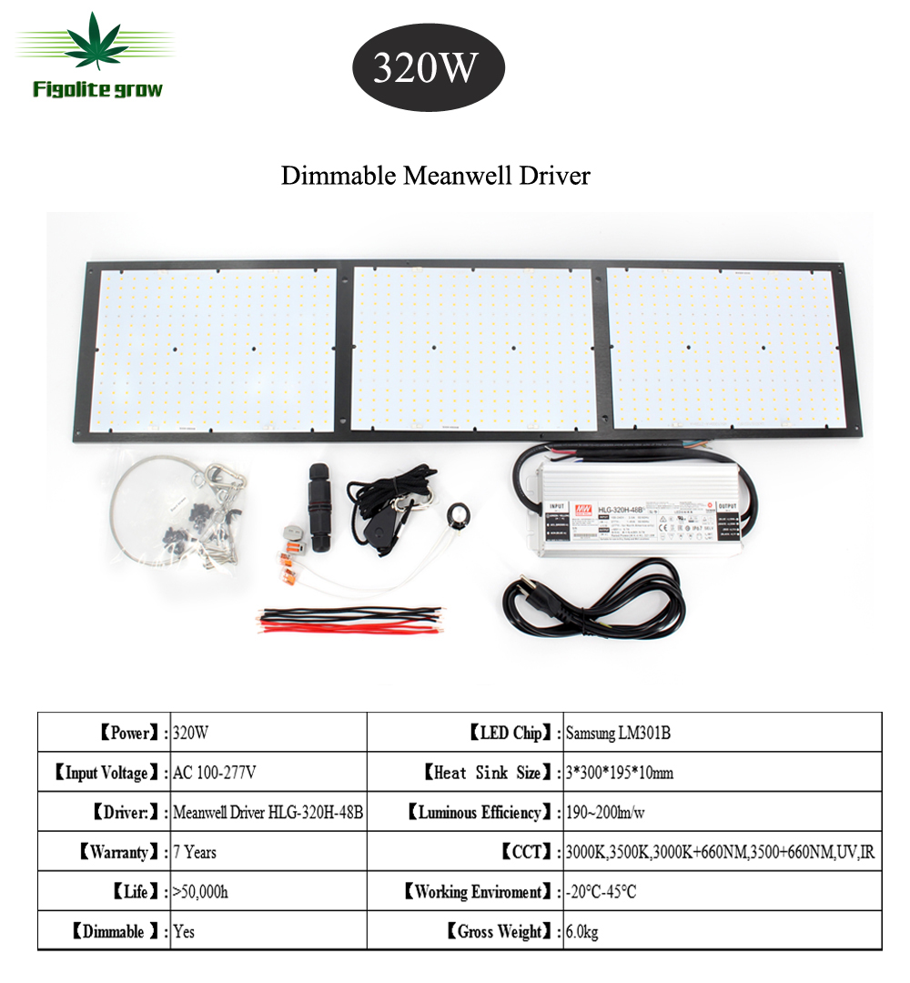 Figolite Grow 320W Dimmable Quantum Board Led Grow Light With Samsung Lm301b Chips For Indoor Medicine Plant Grow