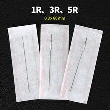 Agulhas de maquiagem permanente 1r/3r/5r 100 peças esterilizadas dicas de agulha normal de aço inoxidável sobrancelha-agulhas de tatuagem frete grátis