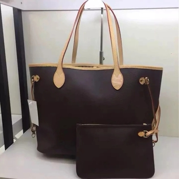 Excellent Quality  Bags For Women 2021 Shopping Bag Luxury Brand Shoulder Bag Canvas Leather Neverful Handbags MM/GM 1