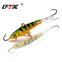 FTK Winter Ice Fishing Lure 1PC 12G/71mm Ice Fishing Jig Bait BASS /Pike Fishing hooks Lead Hard Lure 10# Red hook стоимость
