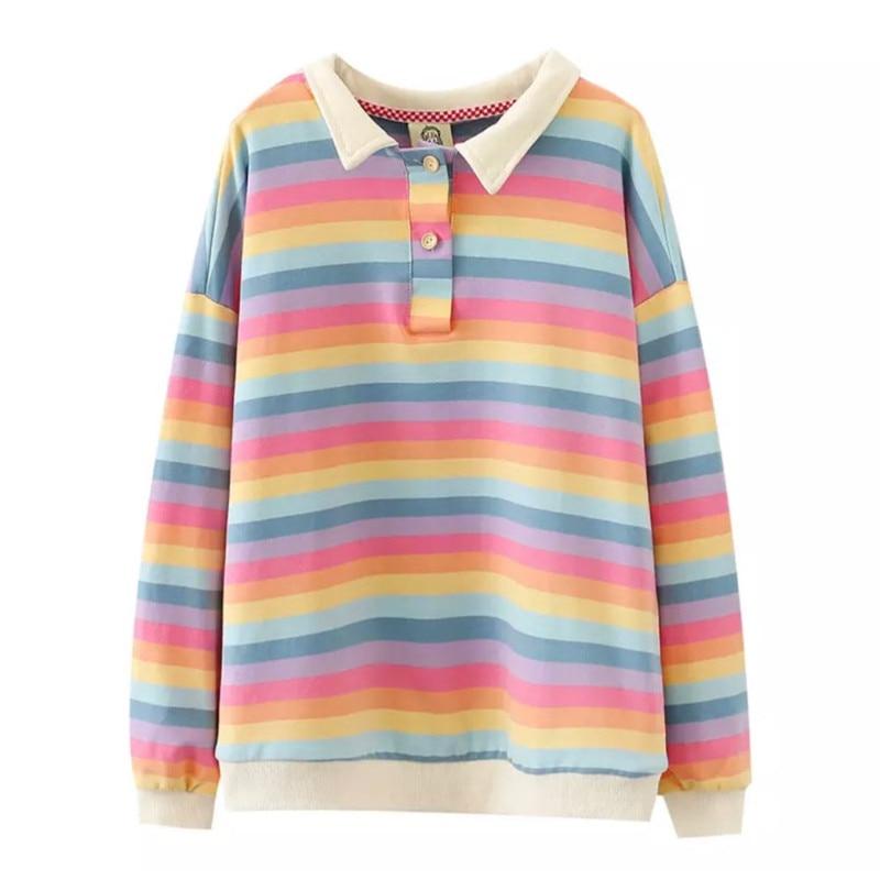 Merry Pretty 2020 New Rainbow Striped Sweatshirt Harajuku Hoodie Sweatshirt Turn-down Collar Sweet Womens Hoodies Pullovers