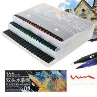 12/24/36/48/72/100 цветная тонкая подводка с двойным наконечником, ручка с фетровым наконечником, ручка для рисования, акварельные художественные м...