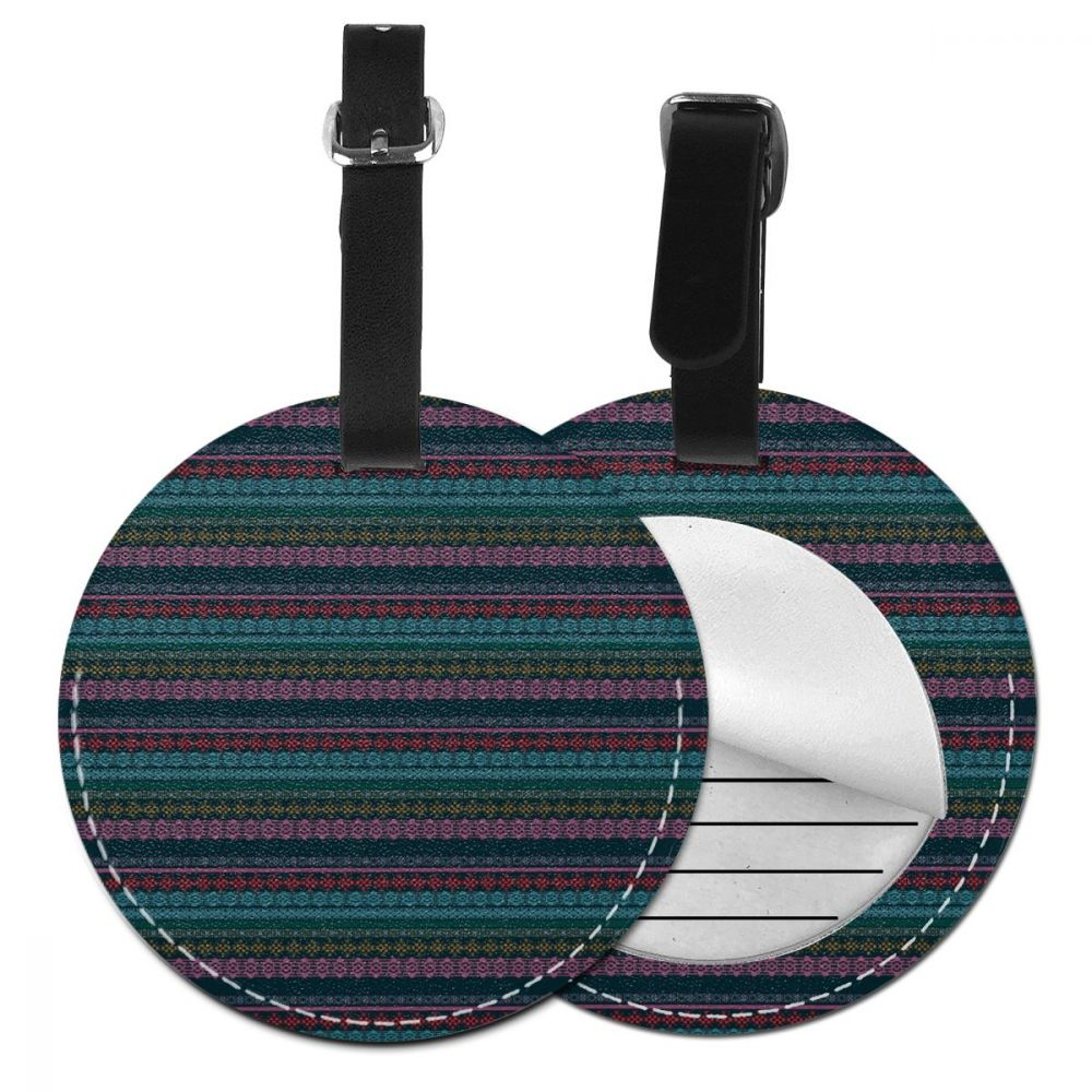 NOISYDESIGNS Round Luggage Tag Pendant Handbag Name ID Address Tags Tribal Art Print Travel Accessories Leather Suitcase Label