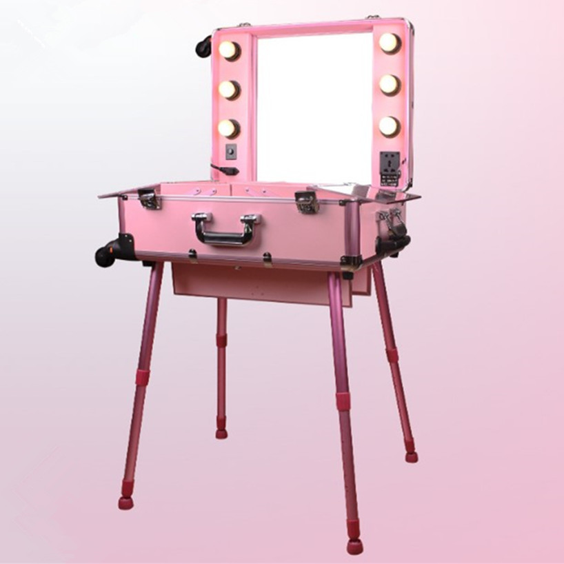 Aluminum Frame Professional Rolling Studio Makeup Artist Cosmetic Case Beauty Trolley Suitcase LED Light Mirror Box Pink Luggage