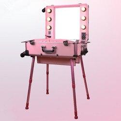 Marco de aluminio profesional Rolling Studio maquillaje artista estuche cosmético belleza Trolley maleta LED luz espejo caja Rosa equipaje