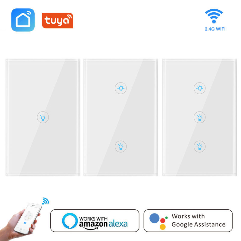 Wifi Smart Light Switch Glass Screen Touch Panel Voice Control Wireless Wall Work With Alexa Google Home Tuya Smart Life Home