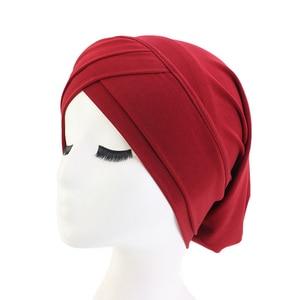 Image 2 - Хиджаб для мусульманманок, шарф, внутренняя шапка, Женский тюрбан, тюрбан, головной платок, растягивающийся, мешковатая шапка для выпадения волос