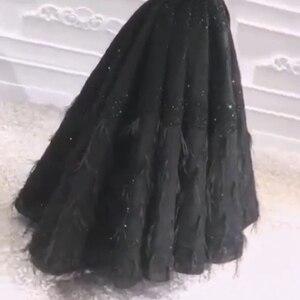 Image 2 - Новое поступление, мусульманское вечернее платье 2020, вечернее платье с черными перьями и бисером, Дубай, арабские Длинные платья, вечерние платья