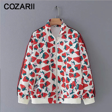 2019 Women Cute Fruit Print Jacket For Sweet Girl Strawberry Kawaii Long Sleeve Female Spring-Autumn chaqueta mujer