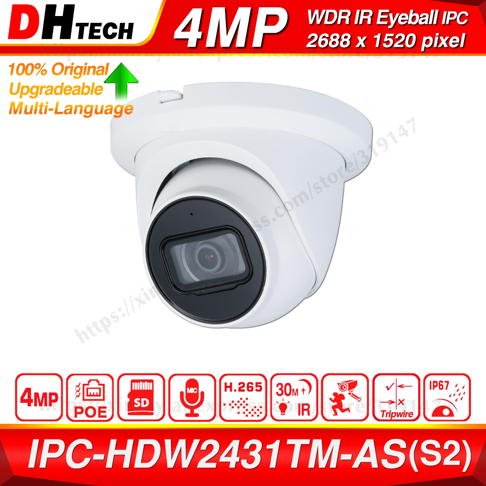Dahua Original IPC-HDW2431TM-AS 4MP HD POE Built In MiC SD Card Slot H.265 IP67 30M IR Starlight IVS Upgradeable Dome IP Camera