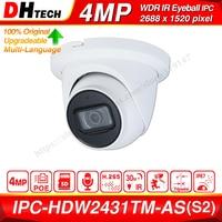 داهوا الأصلي IPC HDW2431TM AS 4MP HD POE بنيت في هيئة التصنيع العسكري SD فتحة للبطاقات H.265 IP67 30M الأشعة تحت الحمراء ضوء النجوم IVS ترقية قبة كاميرا IP-في كاميرات المراقبة من الأمن والحماية على