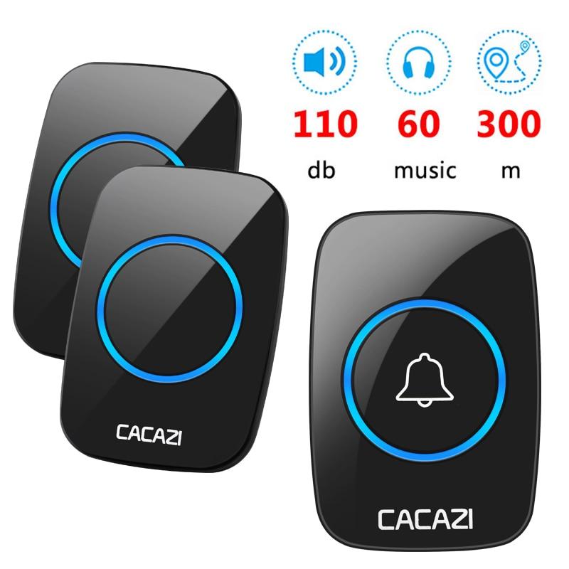 CACAZI Wireless Doorbell Smart Chimes Doorbell Alarm With Waterproof Touch Button 300m Range  Home Intelligent Door Bell
