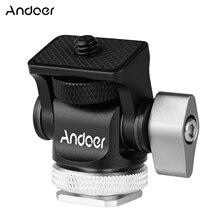 Andoer מיני צג הר חצובה ראש קר נעל מתאם 1/4 אינץ בורג להרכבה מצלמה צג פלאש מיקרופון LED למלא אור