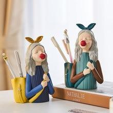 Sculpture de personnages en résine Bubble Girl, papeterie, décoration de bureau moderne pour salle d'étude chambre d'enfants