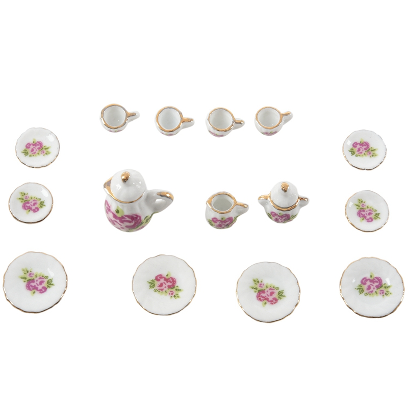 15 Pieces Porcelain Tea Set Dollhouse Miniature Foods Chinese Rose Dishes Cup