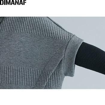 DIMANAF Oversize Winter Autumn Women Pullovers Sweatshirts Cotton Thicken Plus Size Turtleneck Lady Tops Female