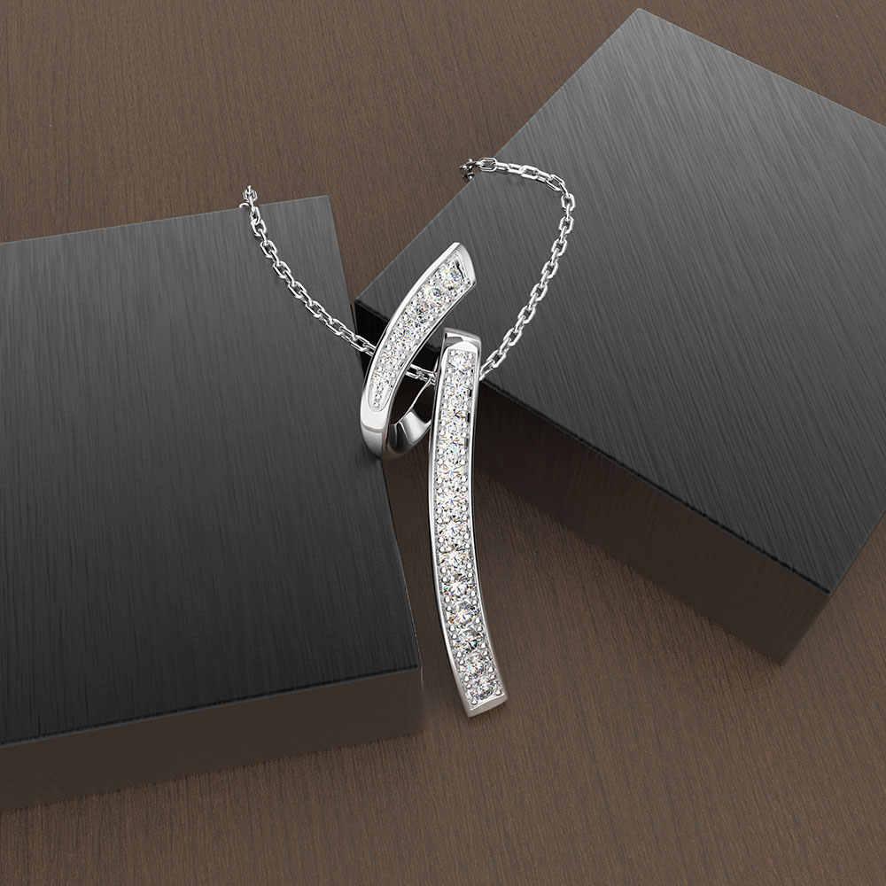 Wong deszcz Trendy 925 Sterling Silver utworzono Moissanite kamień biały złoty wisiorek naszyjnik biżuteria hurtowych Drop Shipping