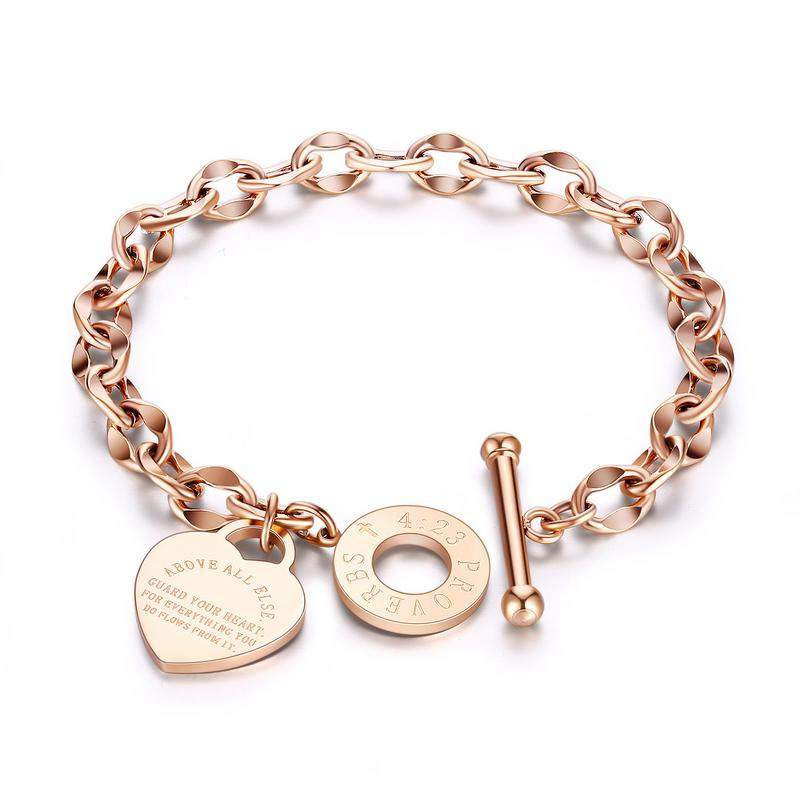 Hemiston European Fashion Titanium Steel Women's Bracelet O Chain Care Bible Proverbs Carved Bracelet