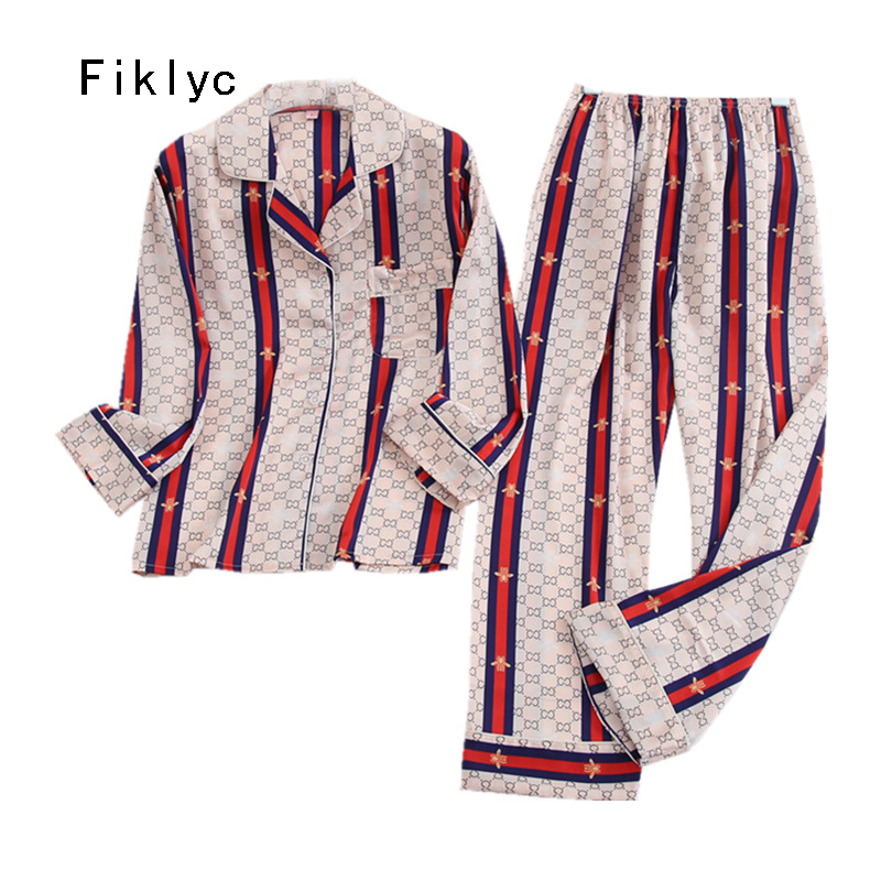 Fiklyc Underwear Pijamas Night Women Nuisette Sexy Longue Pyama Satynowa Pizama Saten Pijama Pajamas Sets Europen Best Sellling