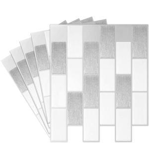 Adhesivo de pared para cocina y salpicaduras DIY, cocina, baño, Adhesivo de pared de casa, azulejos de mosaico 3D-en Metro blanco (paquete de 10)