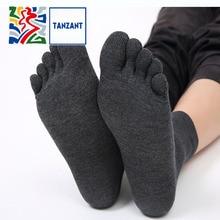 Tanzant Mens Copper Antibacterial Five finger toe Athletic Ankle Crew Running Socks Anti-Odor Blister Resist sports 5 pair
