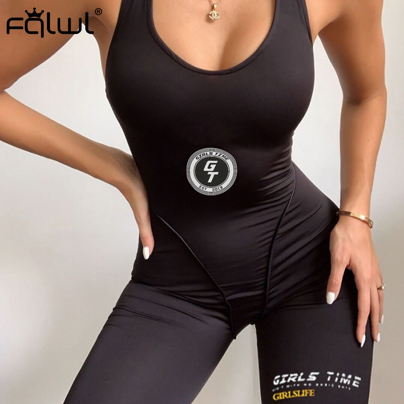FQLWL Streetwear Fitness Ladies Black Summer Short Jumpsuit Women Playsuit Backless Bodycon Sexy Rompers Womens Jumpsuit Female