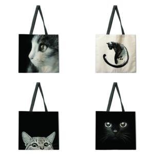 Foldable shopping bag black cat handbag lady shoulder bag lady leisure handbag outdoor beach handbag