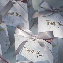Mini caja de regalo de mármol gris creativa para fiesta de Baby Shower, cajas de papel de chocolates, cajas de dulces para favores de boda