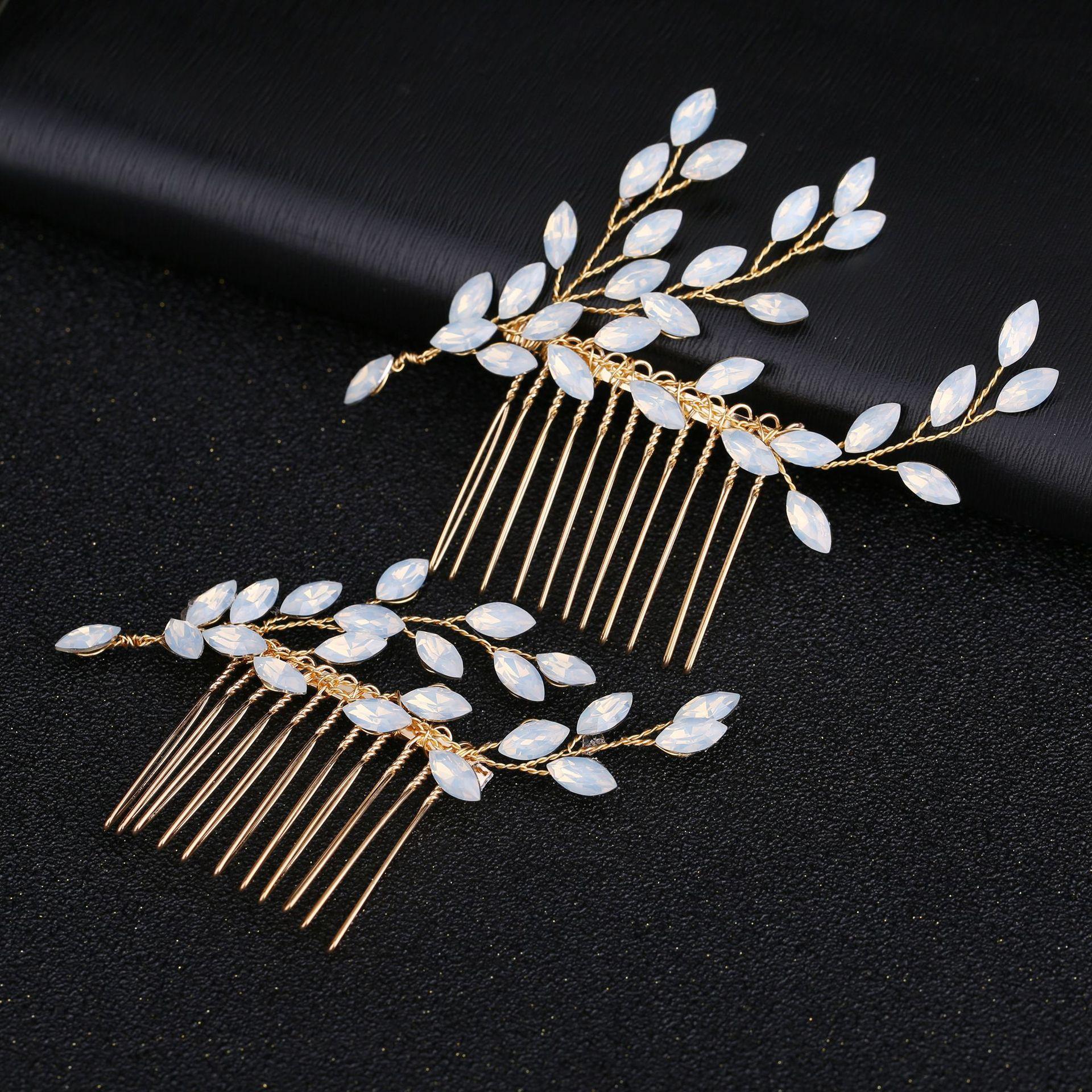 Горячая новинка, Опаловая Свадебная расческа для волос с листьями и кристаллами, простой свадебный головной убор для свадебной вечеринки - Цвет: 1