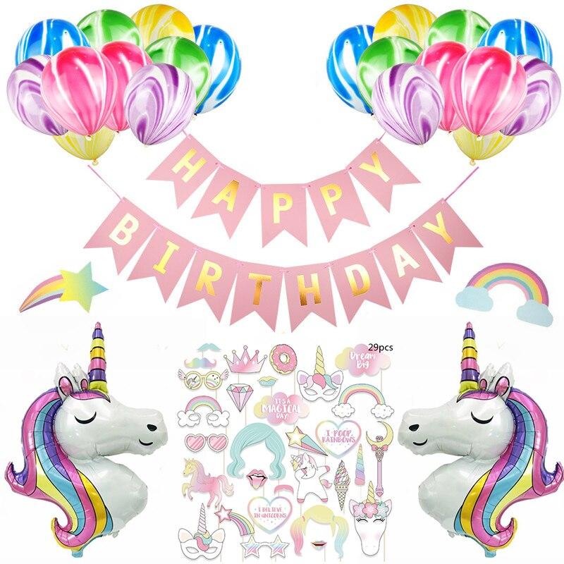 Unicorn Party Supplies Happy Birthday Banner Decor Unicorn Balloons Birthday Party Decoration Kids Baby Shower Favor Ww09