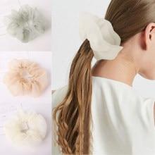 2020 nuevo Color sólido de moda de gasa de pelo claro bandas de pelo cabello lazos para el cabello para las mujeres de pelo elegante accesorios cuerda de pelo