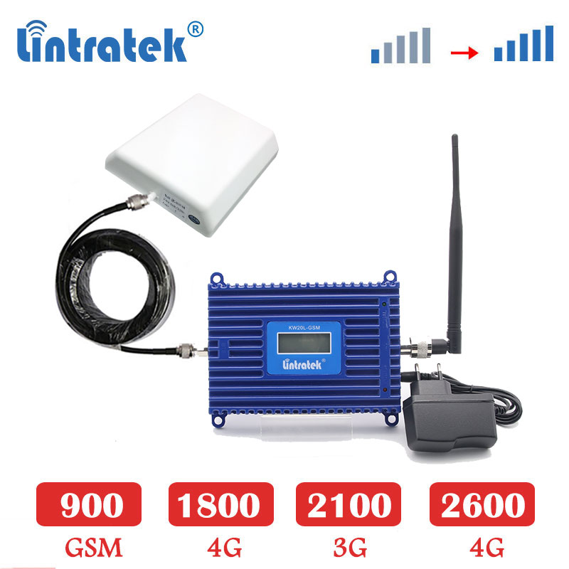 Lintratek 70dB GSM cellular amplifier 4G LTE 2600mhz repeater 3G 2100 WCDMA GSM 900 1800mhz 4g LTE signal booster Set antenna sk