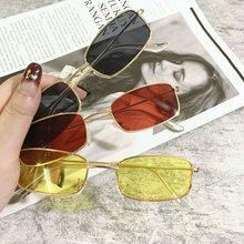 1 pçs pequeno vintage retro tons retângulo óculos de sol uv400 metal moldura quadrada lente clara óculos de sol