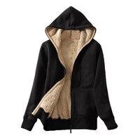 Sudadera con capucha y forro polar para mujer, abrigo informal cálido de invierno con cremallera y forro polar de manga larga