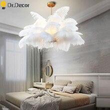 Nordic Luxury Natural Ostrich Feather Pendant Lights Modern Living Room Home Decor Pendant Light Barbershop Hanglamp Luminaria