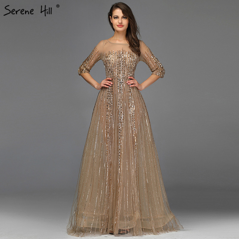 Image 5 - Gold Dubai Design Long Sleeves Evening Dresses 2020 A Line Luxury Beading Crystal Evening Gowns Real Photo LA70170Evening Dresses   -